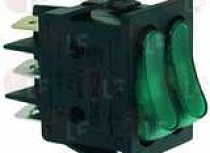 GREEN DOUBLE SWITCH 16A 250V